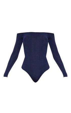 Basic Navy Bardot Bodysuit | Jumpers | PrettyLittleThing