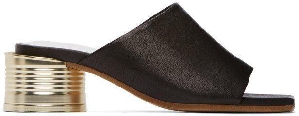 Black Can Heel Open Toe Sandals