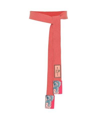 Leather-trimmed belt