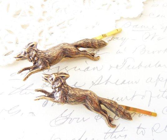 Fox Bobby Pins Fox Hair Pins Woodland Hair Pin Set   Etsy