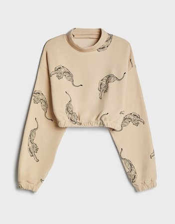 Cropped sweater with print - Sweatshirts and Hoodies - Woman   Bershka