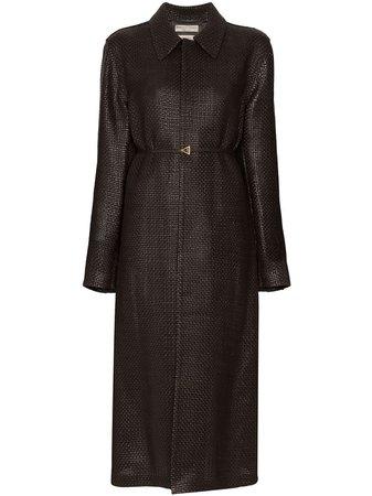 Bottega Veneta, Brown belted intrecciato leather coat