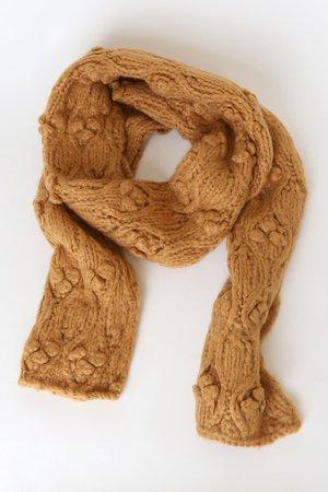 Mustard Yellow Knit Scarf - Popcorn Knit Scarf - Oversized Scarf - Lulus