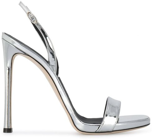 Metallic Open-Toe Heeled Sandals