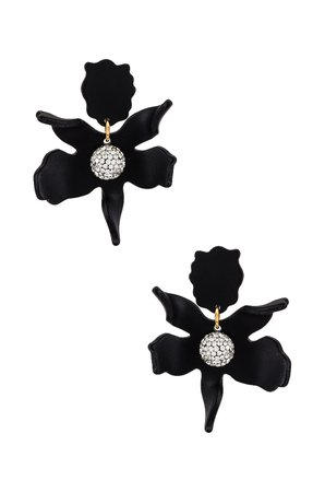 Lele Sadoughi Small Crystal Lily Earrings in Jet | REVOLVE