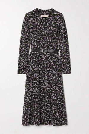 Belted Floral-print Georgette Midi Dress - Black
