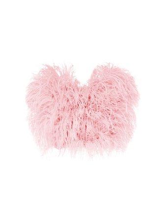 pink strapless fur crop top
