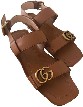 Double G Brown Leather Sandals