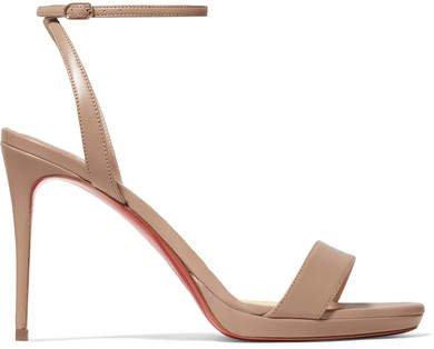Loubi Queen 100 Leather Sandals - Beige