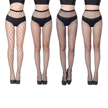 FLORA GUARD High Waist Tights Fishnet Stockings -Pantyhoses Seamless Mesh Tights for Women, 4 Pairs of High Waist Fishnet Tights with 4 Types(Black) at Amazon Women's Clothing store: