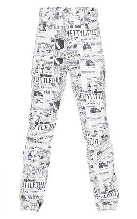PRETTYLITTLETHING Monochrome Newspaper Print Straight Leg Jeans | PrettyLittleThing USA