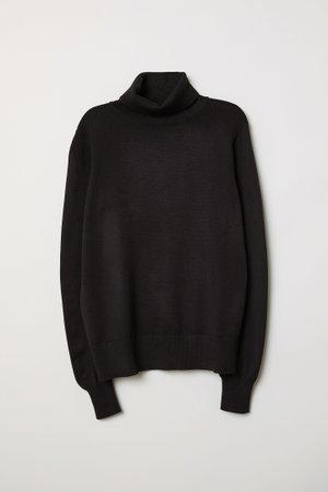 Fine-knit Turtleneck Sweater - Black - Ladies | H&M US