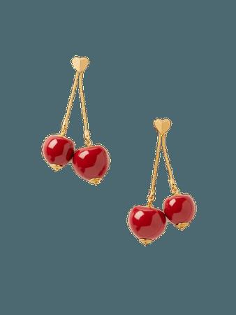 Kate Spade tutti fruity cherry linear earrings