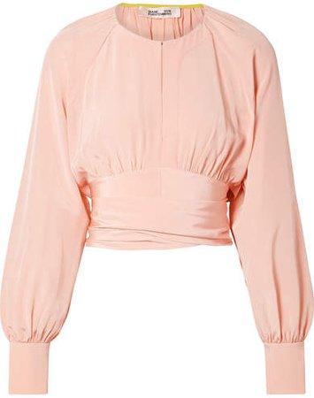 Gathered Cropped Silk Wrap Blouse - Pastel pink
