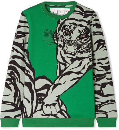 Embellished Printed Cotton-blend Jersey Sweatshirt - Green