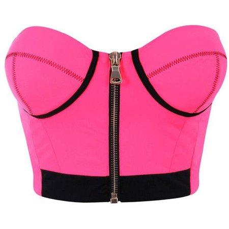 Bright Pink Bustier Crop Top