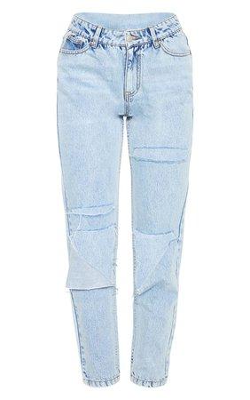 Light Wash Slit Knee Straight Leg Jeans | PrettyLittleThing USA