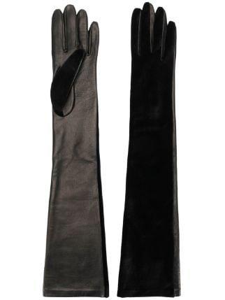 Alberta Ferretti Velvet Elbow Length Gloves - Farfetch