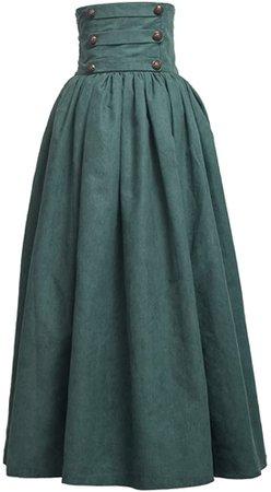 BLESSUME Gothic Skirt Lolita Steampunk High Waist Walking Skirt Green at Amazon Women's Clothing store