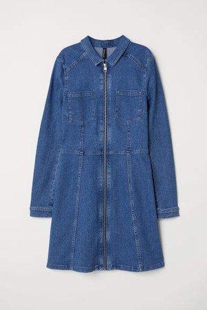 Fitted Shirt Dress - Blue