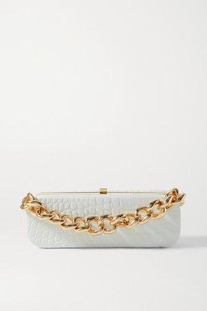 Frankie Mini Croc-effect Leather Clutch - White
