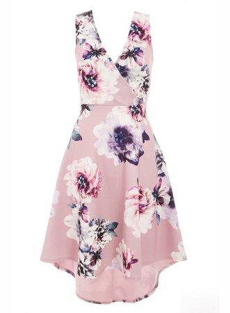 *Quiz Pink Floral Print Dip Hem Skater Dress | Dorothy Perkins