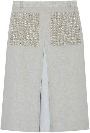 embellished pocket A-line skirt