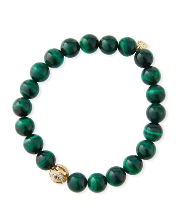 Sydney Evan 14k Gold, Malachite & Evil Eye Bracelet