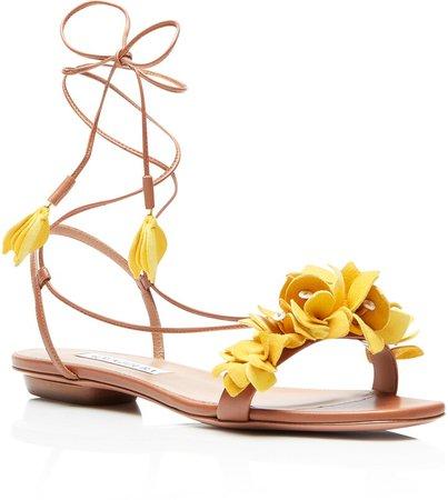 Bougainvillea Floral Ankle Tie Flat Sandal