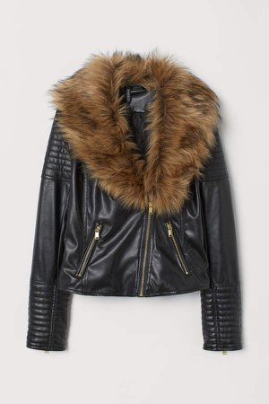 Faux Fur-collar Biker Jacket - Black