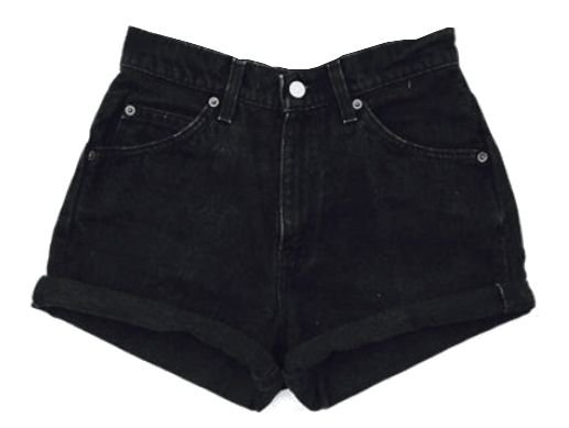 Black High Waist Jean Shorts
