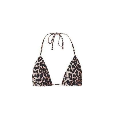 Ganni - Leopard-print triangle bikini top | Mytheresa