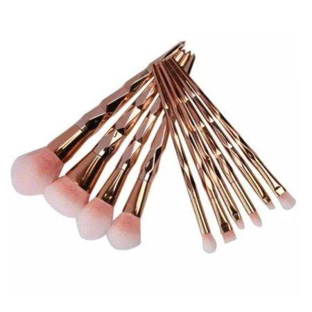 33860737_3SZ.jpg (1000×1000) Kit 10 Pincéis De Maquiagem Diamante Gold Rose