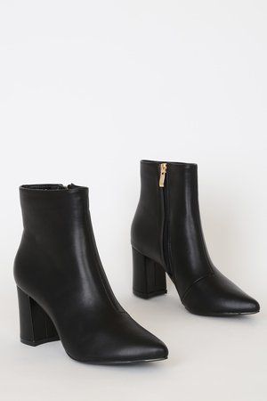 Chic Black Boots - Pointed-Toe Boots - Vegan Leather Ankle Boots - Lulus