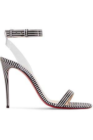 Christian Louboutin   Jonatina 100 PVC-trimmed striped patent-leather sandals   NET-A-PORTER.COM