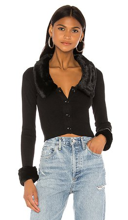 superdown Elaney Faux Fur Cardigan in Black   REVOLVE