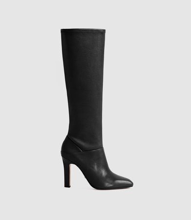 Cressida Black Leather Knee High Boots – REISS