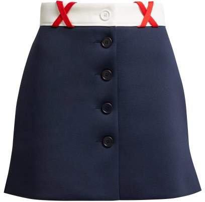 Jersey Mini Skirt - Womens - Navy Multi