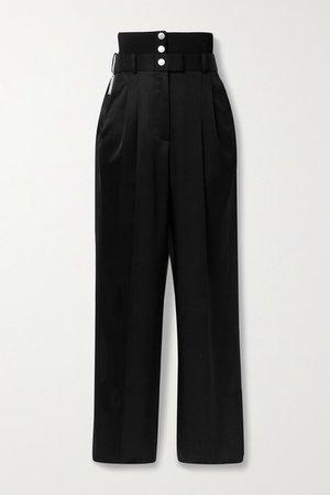 Satin-twill Straight-leg Pants - Black