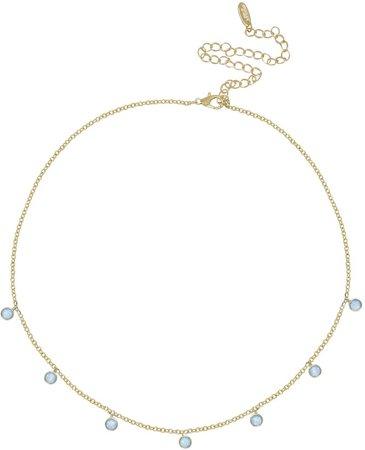 Blue Opal Disc Station Necklace