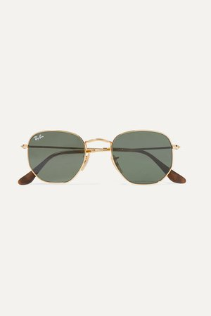 Ray-Ban | Hexagon-frame gold-tone sunglasses | NET-A-PORTER.COM
