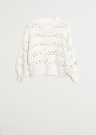 Openwork knit sweater - Women | Mango USA white