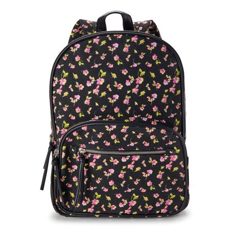 No Boundaries - No Boundaries Black Floral Double Gusset Backpack - Walmart.com - Walmart.com