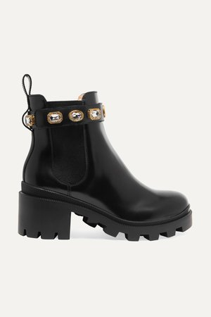 Black Crystal-embellished leather Chelsea boots | Gucci | NET-A-PORTER
