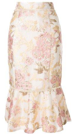Delphi floral-brocade skirt