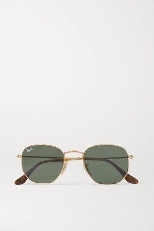 Gold Hexagon-frame gold-tone sunglasses | Ray-Ban | NET-A-PORTER