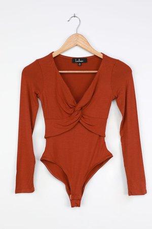 Rust Orange Bodysuit - Long Sleeve Bodysuit - Twisted Bodysuit - Lulus