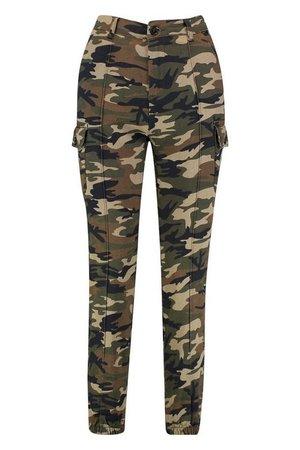 Camo Print Elasticated Hem Cargo Pants | Boohoo