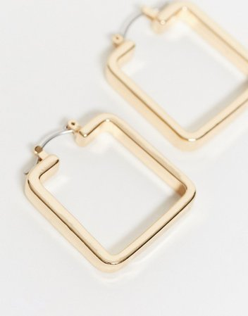 ASOS DESIGN hoop earrings in sleek square in gold tone | ASOS