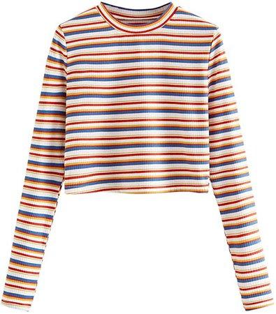 SweatyRocks Women's Round Neck Slim Fit Long Sleeve Striped Crop Top T Shirt Blue L at Amazon Women's Clothing store